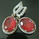 TURKISH OTTOMAN VICTORIAN 925 STERLING SILVER 4 CT RUBY CZ RAIN DROP EARRINGS