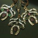 Ottoman Victorian Turkish Sultan's Bronze 0.15 Carat Emerald&Ruby Butterfly Set