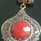 Turkish Ottoman Victorian Style 6 Carat Ruby 925 Sterling Silver Boho Pendant