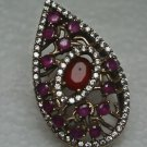 Turkish 1 Carat Ruby 925 Sterling Silver Size 7.75 SULTAN Pear Cut Bohemian Ring