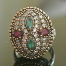 Turkish 0.5 Carat Emerald Ottoman Style 925 Silver Ring Sultan's Style Size 7