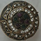 Turkish 0.10 Carat Emerald&Ruby Size 8.5 Victorian Bronze Sultan's Swirl Ring