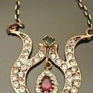 Turkish Ottoman Victorian Style Designer 0.5 Carat Ruby Sultan's Bronze Pendant