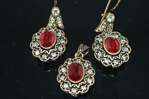 Ottoman Victorian Harem Hurrem Sultan 1 Carat Ruby Rhinestones Mixed Metals Set