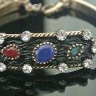 Turkish 1.0 Carat Sapphire Ottoman Victorian Style Bronze Tria Gemstone Bracelet