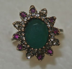 Turkish 2.0 Carat Emerald Ottoman Size 8.25 925 Silver Sultan's Flower Ring