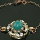 Turkish 4 Carat Emerald CZ Victorian Chain Rustic Looking Hurrem Bronze Bracelet
