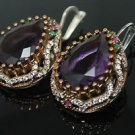 TURKISH VICTORIAN 925 STERLING SILVER 6 CT PEAR AMETHYST DANGLE COCTAIL EARRINGS