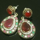 TURKISH OTTOMAN VICTORIAN 925 SILVER 3 CARAT RUBY PEAR SWIRL DANGLING EARINGS