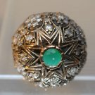Turkish 0.5 Carat Emerald Cocktail Victorian Style 925 Silver Size 8.5 Star Ring