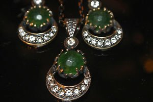 Turkish Victorian Ottoman Style 2.0 Carat Emerald Moon&Star Bronze Jewelry Set