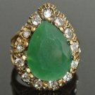 BRONZE HANDCRAFTED OTTOMAN VICTORIAN 5 CARAT EMERALD CZ ROXELANA SIZE 7 RING