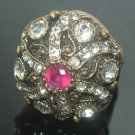 Handcrafted Turkish Ottoman Ruby & CZ Star Looking Swirl Bronze Size 8 Ring