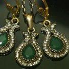 Handmade Turkish Victorian Ottoman 1 Carat Emerald CZ Bronze Boho Tulip Set