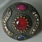 Vintage Turkish 1.5 Carat Ruby & Sapphire CZ Ottoman Bronze Ring Size 8