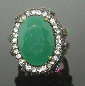 Turkish 6.0 Carat Emerald Ottoman Bronze Size 7 Unisex Sultan's Cocktail Ring