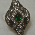 Turkish 0.5 Carat Emerald Size 8.5 Victorian Style 925 Silver Sultan Flower Ring