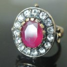 Bronze Vintage Turkish 3 Ct Ruby Ottoman Victorian Size 8.5 Wedding Band Ring