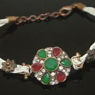 Turkish 1.5 Carat Emerald Ottoman Victorian Leather Cord Flower Bronze Bracelet