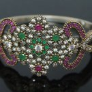 Turkish Ottoman Handmade 0.33 Carat Ruby &Emerald 925 Silver Bangle Bracelet