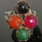 TURKISH OTTOMAN VICTORIAN STYLE 1.5 CARAT AGATE MIX UNISEX RING BRONZE SIZE 8