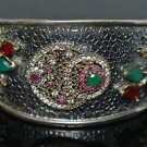 Turkish Ottoman Georgian Handmade 0.33 Carat Emerald 925 Silver Bangle Bracelet