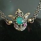 Turkish 2 Carat Round Emerald CZ Victorian Chain Rustic Tulip Brass Bracelet