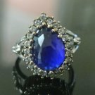Turkish 1.5 Ct Pear Sapphire Ottoman Handmade Size 8.5 925 Sterling Silver Ring