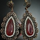HANDMADE TURKISH OTTOMAN 5 CARAT RUBY CZ TULIP VINTAGE BOHO BRONZE JEWELRY SET