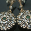 TURKISH OTTOMAN VICTORIAN 925 SILVER 0.1 CT EMERALD HURREM GEORGIAN EARRINGS