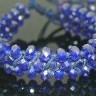 Turkish Designer Deep Blue Cuff Bracelet Leather Cord & Sapphire Crystals