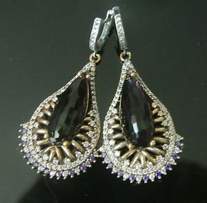 TURKISH VICTORIAN 925 STERLING SILVER 5 CT AMETHYST DANGLE PEACOCK EARRINGS