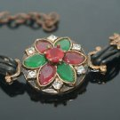 Turkish 0.25 Carat Emerald & Ruby Ottoman Bronze Charm Leather Cord Bracelet
