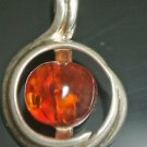 925 Silver 2.5 Carat Amber Round Shaped Pendant