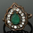 TURKISH OTTOMAN VICTORIAN 0.75 CARAT PEAR EMERALD BRONZE RING SULTAN SIZE 8