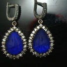 HANDMADE TURKISH OTTOMAN VICTORIAN 925 SILVER 5 CT PEAR SAPPHIRE DANGLE EARINGS