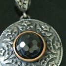 Bronze Turkish Ottoman Victorian Moon & Star Designer Tulip 6 Carat Onyx Pendant