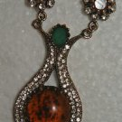 BRONZE HANDCRAFTED TURKISH OTTOMAN VICTORIAN STYLE 6 CARAT AMBER BOHO PENDANT