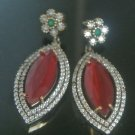 TURKISH OTTOMAN VICTORIAN STYLE 925 SILVER 6.0 CARAT RUBY PEAR CUT EARINGS