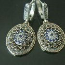 TURKISH OTTOMAN VICTORIAN 925 SILVER 0.05 CT SAPPHIRE EVIL EYE DANGLE EARRINGS