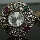 Turkish Ottoman Style 0.33 Ct Emerald & Ruby CZ 925 Silver Flower Wrist Watch