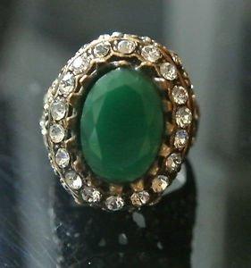 Turkish Ottoman 3 Ct Emerald CZ Victorian Bronze Sultan Size 9 Boho Unisex Ring