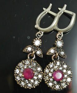 TURKISH OTTOMAN VICTORIAN STYLE 925 SILVER 0.50 CARAT RUBY CZ FLOWER EARINGS