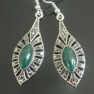 CLASSIC TURKISH OTTOMAN MARCASITE MARQUISE JADE EMBRODIREY DANGLE EARRINGS