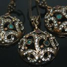 HANDMADE TURKISH OTTOMAN RUBY EMERALD CZ OVAL VINTAGE BOHO BRONZE JEWELRY SET