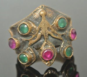 Ottoman Bronze Handmade Turkish Sultan's 0.25 Carat Ruby & Emerald Bent Ring