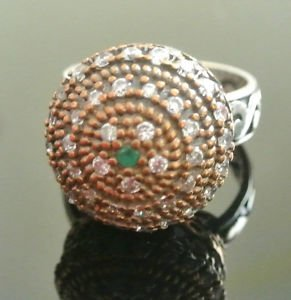 Turkish 0.05 Carat Emerald Ottoman Victorian 925 Silver Ring Sultan Size 8.5