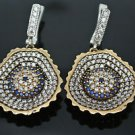 TURKISH OTTOMAN VICTORIAN 925 SILVER 0.01 CT SAPPHIRE EVIL EYE DANGLE EARRINGS