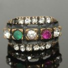 TURKISH OTTOMAN VICTORIAN 0.15 CARAT EMERALD & RUBY BRONZE RING SULTAN SIZE 7