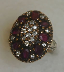 925 Sterling Silver Size 8.5 Turkish 0.2 Carat Ruby CZ SULTAN Swirl Vintage Ring